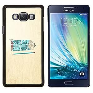 Believe In Good Design- Metal de aluminio y de plástico duro Caja del teléfono - Negro - Samsung Galaxy A7 / SM-A700