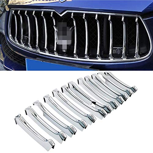 Part Maserati - YOCTM Car Styling Grill Chrome Trim 12pcs Front Grille Decorative Garnish Trim for Maserati Ghibli 2013-2017 Parts Accessories