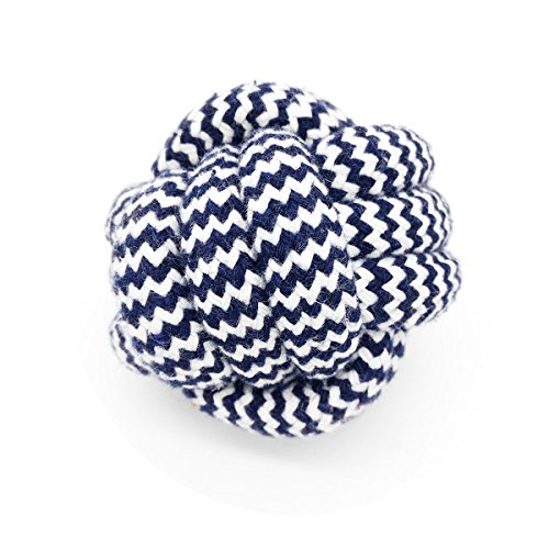 YUSEN Best Puppy Teething Ball Toy, Cotton Rope Knot Monkey Fist Ball Interactive Floss Dog Chew Toy Small 2.4 inches, Color Sorted