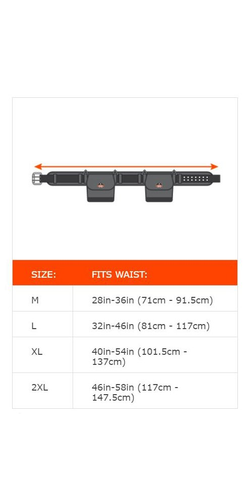 Ergodyne Arsenal 5555 5-Inch Padded Base Layer Tool/Work Belt, XL