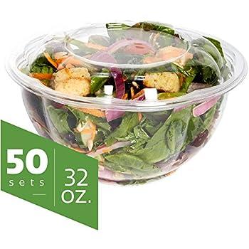 Amazoncom 32 oz Plastic Salad Bowls To Go With Airtight Lids 50