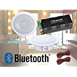 Digitalis Audio Bluetooth Ceiling Speaker Kit Bluetooth Amplifier Water Resistant Ceiling Speakers Perfect for Kitchen or Bathroom (2 Speaker Set)