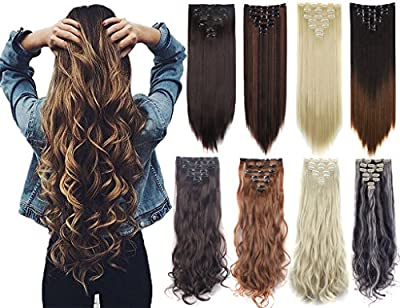3-5 Days Delivery 7Pcs 16 Clips 23-24 Inch Real Thick Curly Straight Full Head Clip in on Double Weft Hair Extensions 20 Colors