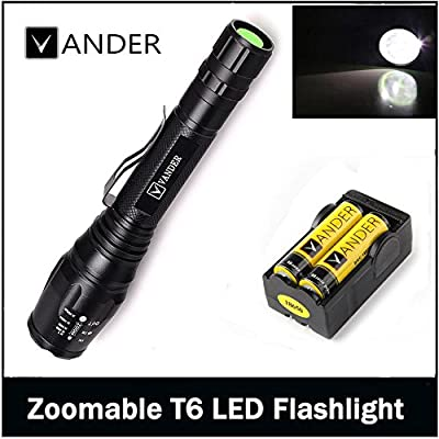 Vander T6 2000 Lumens LED Zoomable Handheld Flashlight (Black?5 Modes with 18650 Charger and 2x Rechargeable Battery,Adjustable Focus Torch for Camping, Hiking, Hunting, Backpacking, Fishing and BBQ
