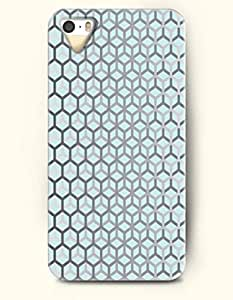 Phone Case For iPhone 5 5S Grey Honeycomb In Light Blue Background - Hard Back Plastic Case / Geometric Pattern / OOFIT Authentic
