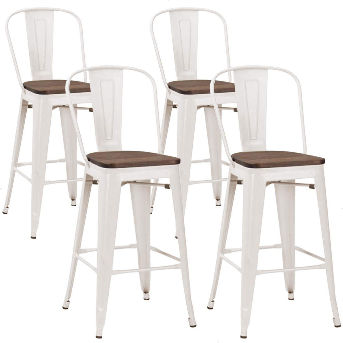 Tongli 30 Inches High Back Metal Stools Set of 4 Bar Height Stools 30 Metal Barstools with Back White, High Back