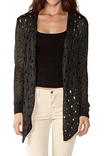 - Dinamit Womens Knit Pointelle Open Cardigan With Metallic Sheen Black M/L