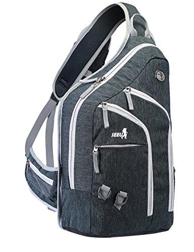 SEEU Plus Oversized Sling Backpack for Men Women, Double Layers Durable Bag Cross body Daypack (Sling Back)