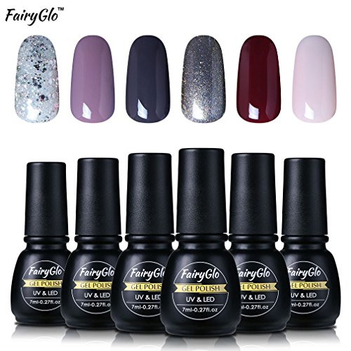 Nail Polish UV LED Nail Art Soak Off Starter Kit Varnish Gel Nails 6PCS FairyGlo 7ml 1016 Polish Well