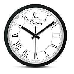 Time Roaming 10 Modern Decor Silent Metal Wall Clock Digital Style, Roman Numerals(White)