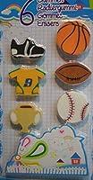 6 Radiergummi 3 cm Sport Ball Pokal Trikot Baseball Rugby Ratzefummel Deko GAC