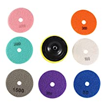 Nixikoo® Superior Diamond Wet Dry Polishing Pads Disc Set Kit for Granite Marble Concrete Stone Buffing Polishing,4 inch ,Pack of 8,Includes 7 Grinding Discs(#50/100/300/800/1500/2000/3000)and 1 Sticky Disc