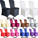 TtS 10 Chair Covers Spandex Lycra Universal Slipcovers Dining Chair Cover Wedding Banquet Party Flat Front - White