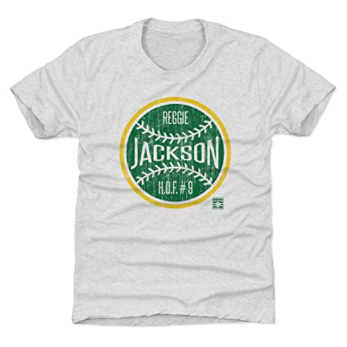 (500 LEVEL Oakland Athletics Youth Shirt - Kids X-Small (4-5Y) Tri Ash - Reggie Jackson Ball G)
