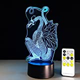 Circle Circle Dragon 3D Optical Illusion Table Lamp 7 Colors Change Touch Button and 15 Keys Remote Control LED Light Decor