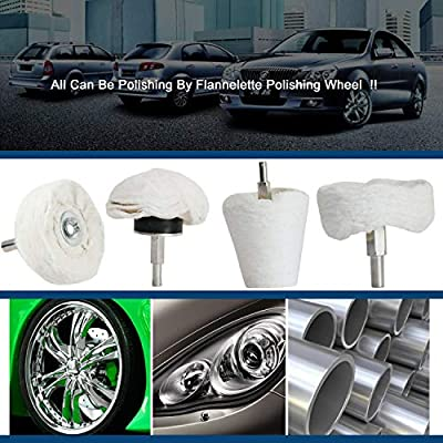 Medoon Polishing Pad Buffing Wheel Kit White Flannelette 5 Pack, Polisher Tools Fit for Metal Aluminum Stainless Steel Chrome Wood Plastic Ceramic Glass Woods Fabric Cotton Machine Jewelry etc: Automotive