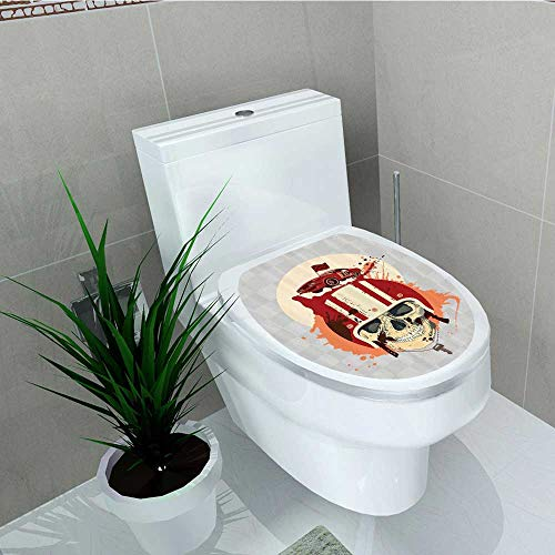 Printsonne Decal Wall Art Decor Racing Driver Skull HelmDead Competitor Retro Horror Style Toilet Decoration W13 x L16 ()