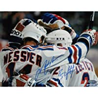 NHL New York Rangers Brian Leetch/Mark Messier Dual Team Huddle Signed Photograph