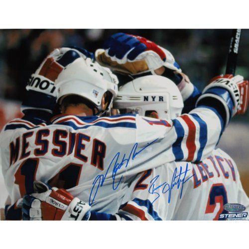 NHL New York Rangers Brian Leetch/Mark Messier Dual Team Huddle Signed Photograph, 16x20-Inch