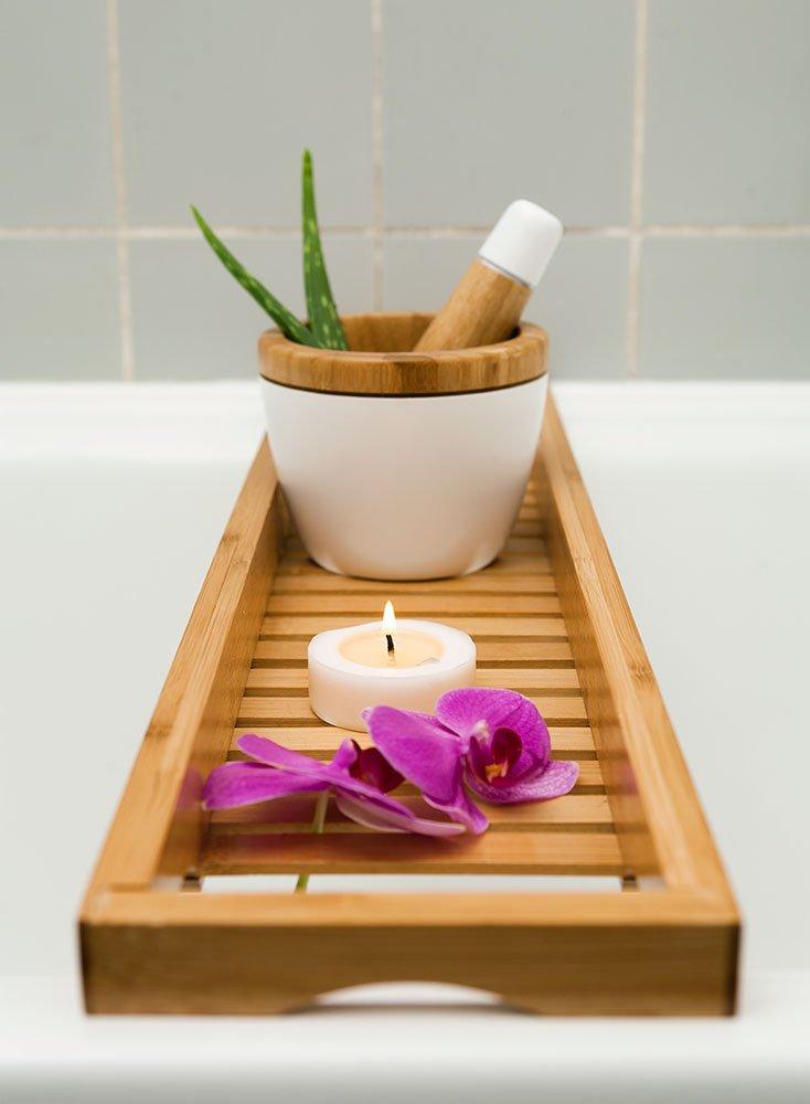 Belle Mensola per vasca da bagno, per vasca da bagno, vasca da bagno cuscino, per vasca bagno in bambù 70 cm x 16 cm IN-TECH