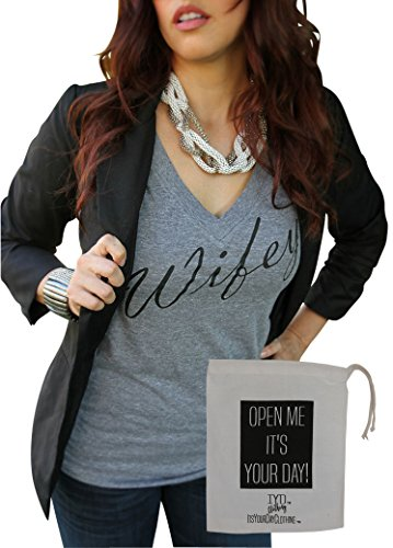 Its Your Day Clothing Wifey Womens Premium Heather Gray Soft Tri-Blend V Neck + IYD Gift Bag