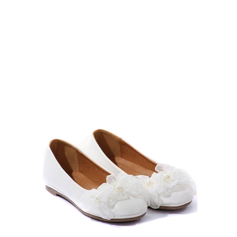 Amazon kids dream white organza flower ballet flats girl dress amazon kids dream white organza flower ballet flats girl dress shoes 4 10 ballet mightylinksfo