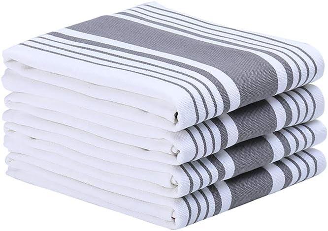 Anyi Dish Towels Kitchen 4 Packs 18 x 26 inches 100% Cotton Dish Cloths Soft Tea Bar Towels, Gray