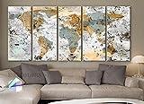 Original by BoxColors Xlarge 30''x 70'' 5 Panels 30x14 Ea Art Canvas Print World Map Original Design Watercolor Texture Old Wall Home Decor Interior (Framed 1.5'' Depth)