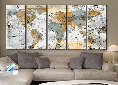Original by BoxColors Xlarge 30''x 70'' 5 Panels 30x14 Ea Art Canvas Print World Map Original Design Watercolor Texture Old Wall Home Decor Interior (Framed 1.5'' Depth) by BoxColors