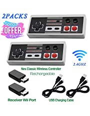 2 Pack Rechargeable NES Classic Mini Wireless Controller -TURBO EDITION-Rapid Buttons Edition for Nes Wii Gaming System with 2.4G Wireless Receiver