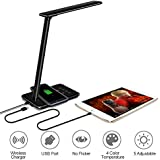 XFUNY LED Desk Lamp with Wireless Charging Pad, Touch Control, 4 Color Temperature Modes, Auto Timer, Dimmable Folding Bedside Table Lamp with USB Charging Port (Black)