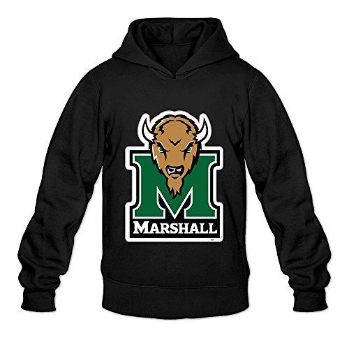 Tavil Marshall Thundering Herd Casual Hoodies For Men Black Size XX-Large