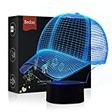 NChance Magic Baseball Cap Lamp 3D Illusion 7 Colours Touch Switch USB Insert LED Light Birthday Present and Party Decoration
