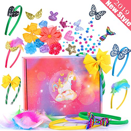 RUNJNAN Headbands for Girls, 70 Pcs DIY Arts Crafts Kits for Girls Make Headbands, Hair Accessories Include Flowers Rhinestones Roses Butterfly and More ()