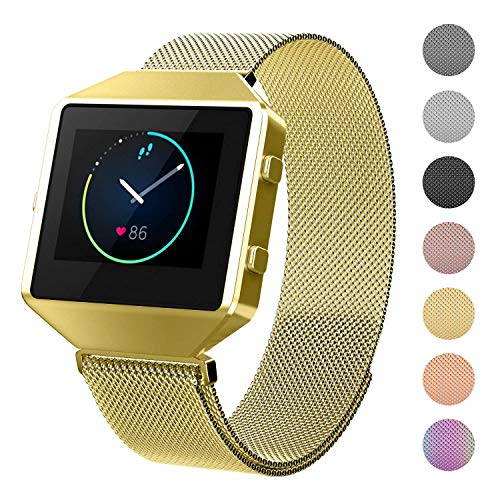 CRODI Compatible with Fitbit Blaze Bands New Metal Full Frame Womens Mens Stainless Steel Classic Replacement Smart Fit bit Blaze Watch Wristbands Fitness Tracker Accessory Small Size- Gold