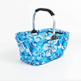 36L Insulted Picnic Basket Cooler Bag, Collapsible Grocery Picnic Cooler for Food Storage, Perfect for Hiking, Shopping (Light Blue)