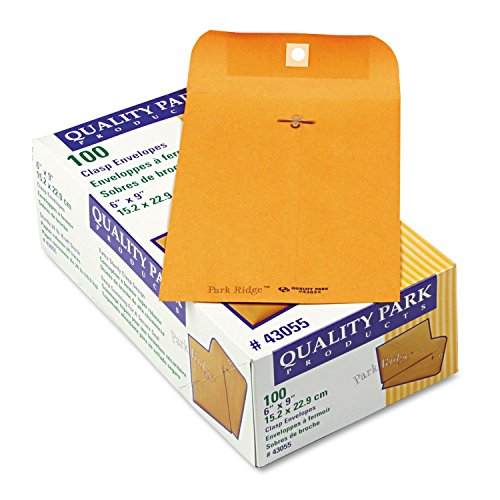 (Quality Park 43055 Clasp Envelope, Embossed, 24Lb, 6-Inch x9-Inch, 100/BX, Kraft)