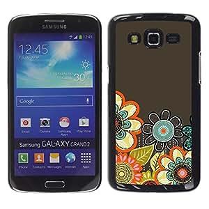 FECELL CITY // Duro Aluminio Pegatina PC Caso decorativo Funda Carcasa de Protección para Samsung Galaxy Grand 2 SM-G7102 SM-G7105 // Pastel Hand Drawn Spring Flowers Grey