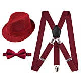 Alizeal 1 inch Suspender and Bow Tie Set with Hat for Kids(Maroon)