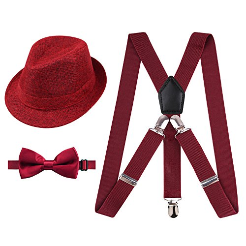 - Alizeal 1 inch Suspender and Bow Tie Set with Hat for Kids(Maroon)