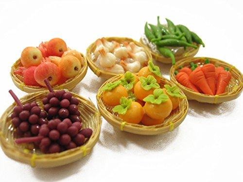 Dolls House Miniatures Food Fruit Vegetable 6 Wicker Basket Handcrafted 13096