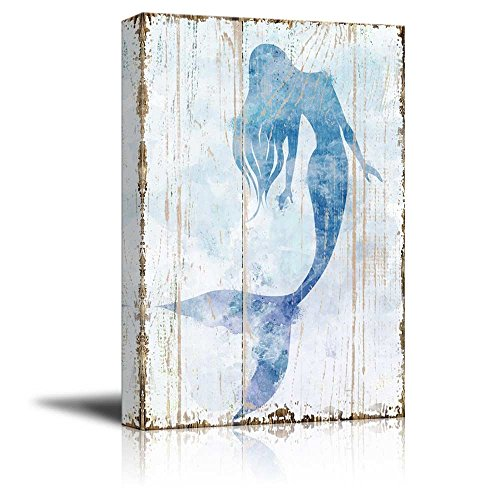 "wall26 - Canvas Wall Art - Mermaid Picture on Vintage Background Rustic Artwork | Modern Giclee Print Gallery Wrap Home Decor Ready to Hang - 12"" x 18"""