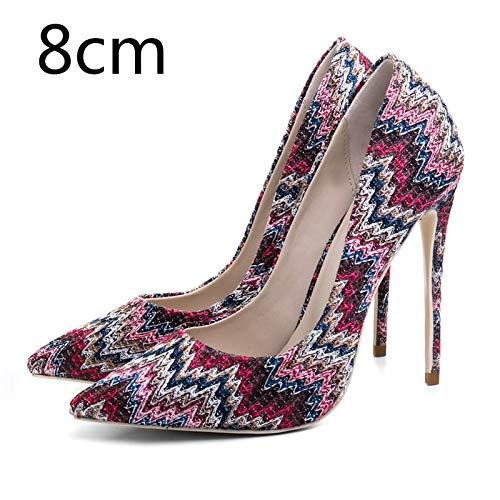 33 Punta Heel 8cm Red Mezclados Malla Colores Bombas Nuevas on Ocasionales Slip Tacón Alto De Hoesczs 45 Estrecha Mujeres Tamaño Zapatos Más Mujer 8BxqRw1