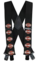 Harley-Davidson Men's Suspenders, Bar & Shield, Extra Long 54 Inch SUS302306
