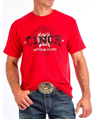 Cinch Men's Red Graphic Short Sleeve T-Shirt (Small) (Mens Cinch)