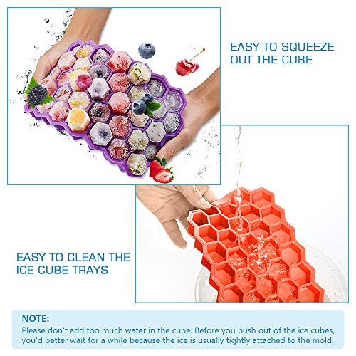 Ice Cube Trays with Lids,Icnice 3 Pack Flexible Silicone Ice Cube Molds 111 Cavities Ice Trays BPA Free with 20 Ice Popsicle Bags,Ice Cube Clamp and Funnel for Cocktail,Whiskey,Chilled Drinks