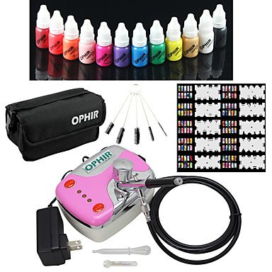 WST 12x Nail Ink Airbrushing 0.3mm Airbrush Kit with Airbrush Nail Stencil & Bag & Cleaning Brush Set