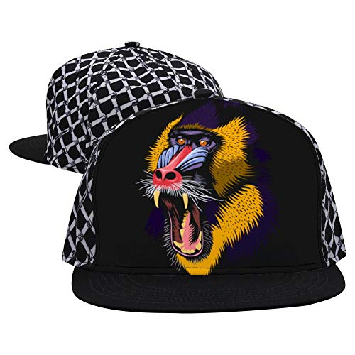 HSOne Mandrel Monkey Fashion Printed Hip Hop 3D Embroidered Lovers Couples Snapback Caps Adjustable Unisex Black