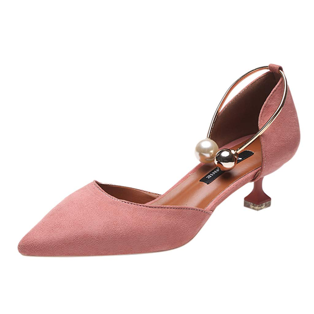 Sanyyanlsy Women Elegant Pearl Metal Ankle Chain Shoes Pointed Toe Spike Heel Mid Heel Slip On Shallow Shoes for Work Pink by Sanyyanlsy