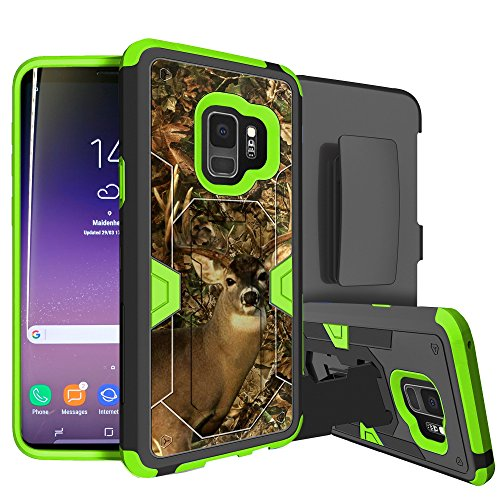 MINITURTLE Case Compatible w/Neon HighImpact Samsung Galaxy S9 Case w/Hybrid Silicone & Hard Exterior [MINITURTLE MAX Defense Green Series for Galaxy S9] Clip + Stand Case for Galaxy S9 Deer Camo